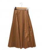 Mila Owen(ミラオーウェン)の古着「フェイクレザープリーツマキシスカート」 ブラウン