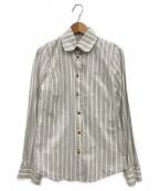 V.W. RED LABEL(ヴィヴィアンウエストウッドレッドレーベル)の古着「ストライプシャツ」|ホワイト×ベージュ