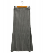 PLEATS PLEASE(プリーツプリーズ)の古着「カットデザインギンガムチェックスカート」 グレー×ブラック