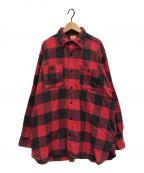 BEAMS × SUGAR CANE(ビームス × シュガーケン)の古着「ビッグワークネルシャツ」 ブラック×レッド