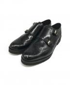 FABIO RUSCONI(ファビオルスコーニ)の古着「ダブルモンクウィングチップシューズ」 ブラック