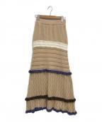 DRWCYS(ドロシーズ)の古着「MIX透かしニットスカート」|ベージュ