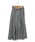 IENA(イエナ)の古着「ギンガムギャザースカート」|ホワイト×ブラック