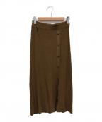 theory(セオリー)の古着「Crepe Front Flap Skirt」 ブラウン