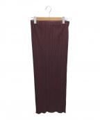 PLEATS PLEASE(プリーツプリーズ)の古着「プリーツスカート」 ボルドー