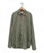 Martin Margiela 10()の古着「カットオフギンガムチェックシャツ」 ブラック×イエロー