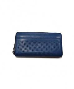 COACH(コーチ)の古着「パンチングレザー長財布」|ネイビー