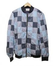 CAL O LINE(キャル オー ライン)の古着「パッチワークブルゾン」|ブルー