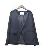 qualite(カリテ)の古着「サテンVジャケット」|ネイビー