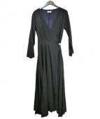 Uhr(ウーア)の古着「レイヤードラップドレス」 ブラック×ネイビー