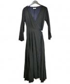 Uhr(ウーア)の古着「レイヤードラップドレス」|ブラック×ネイビー