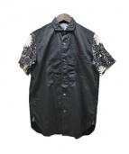 CDG JUNYA WATANABE MAN(コムデギャルソン ジュンヤワタナベ)の古着「フラワーモノグラム袖切替半袖シャツ」|ブラック