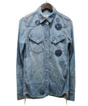 REMI RELIEF(レミレリーフ)の古着「ドットスタッズデニムシャツ」|ブルー