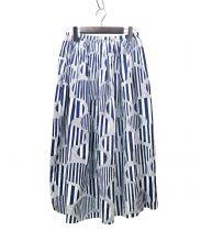 mina perhonen(ミナペルフォネン)の古着「line treeスカート」|ネイビー×ホワイト
