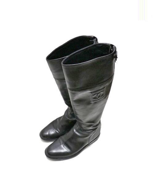 0d502aa7c45e CHANEL (シャネル) レザーロングブーツ ブラック サイズ:36.5 *. CHANEL
