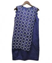 mina perhonen(ミナペルフォネン)の古着「ノースリーブワンピース」|ネイビー