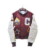 Champion(チャンピオン)の古着「フルデコ袖革アワードジャケット」 レッド×ホワイト