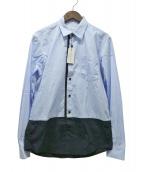 DRIES VAN NOTEN(ドリスヴァンノッテン)の古着「バイカラー長袖シャツ」 ブルー×ブラック
