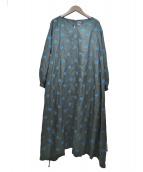 mina perhonen(ミナペルフォネン)の古着「vaporドレス/ワンピース」|グリーン