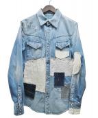 SEVESKIG(セヴシグ)の古着「REMAKE CRUSH DENIM SHIRT」|ブルー
