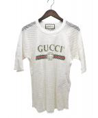 GUCCI(グッチ)の古着「オールドロゴプリントメッシュTシャツ」|ホワイト
