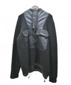DIESEL(ディーゼル)の古着「ニット切替フーディコート」|ブラック