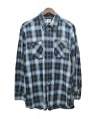 C.P COMPANY(シーピーカンパニ)の古着「オンブレチェックシャツ」|ネイビー