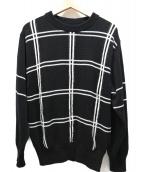 ALLEGE(アレッジ)の古着「Intersia Check Knit」|ホワイト×ブラック