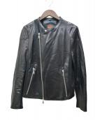 DOUBLE STANDARD CLOTHING(ダブルスタンダードクロージング)の古着「ラムレザーライダースジャケット」|ブラック