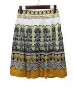 Paul Stuart(ポールスチュアート)の古着「リネン混スカート」|イエロー×ホワイト