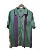 STUSSY(ステューシー)の古着「ビッグストライプシャツ」|グリーン×パープル