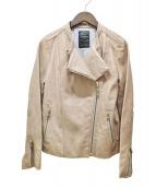 Noble(ノーブル)の古着「ラムレザーライダースジャケット」|ベージュ