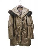 BALMAIN(バルマン)の古着「ラムレザーファー付コート」|ゴールド