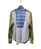LOEWE()の古着「パッチワークボタンダウンシャツ」 カーキ×ブルー