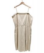 nest Robe(ネストローブ)の古着「コットンリネン撚り杢ストライプキャミワンピース」|ベージュ