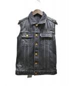 JIL SANDER(ジルサンダー)の古着「ペイント加工デニムベスト」|ブラック