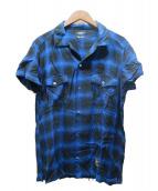 TMT(ティーエムティー)の古着「レーヨンツイルオンブレチェックシャツ」|ブルー