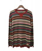 D&G(ディーアンドジー)の古着「クルーネックボーダーニット」|ボルドー