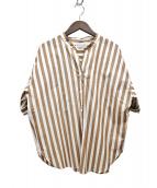 MACKINTOSH(マッキントッシュ)の古着「ストライプ半袖シャツ」|ベージュ