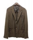 TAKEO KIKUCHI(タケオキクチ)の古着「リネンアンコンテーラードジャケット」|ブラウン