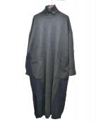 unfil(アンフィル)の古着「スーパーファインメリノインターシアニットドレス」|ネイビー×グレー