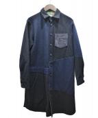 H.R.MARKET(ハリウッドランチマーケッド)の古着「リメイクパッチワークCPOシャツワンピース」|ネイビー