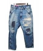 UNITED ARROWS & SONS(ユナイテッドアローズアンドサンズ)の古着「刺し子ペインターデニムパンツ」 ブルー