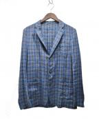 LARDINI()の古着「マドラスチェックリネンテーラードジャケット」 ネイビー
