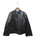 TARA JARMON(タラジャーモン)の古着「19AWスカラップラムレザージャケット」|ブラック