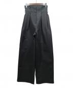 STYLE MIXER()の古着「ウエストタックワイドパンツ」|ブラック