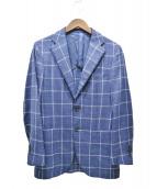 BEAMS F(ビームスエフ)の古着「チェックシルクリネン2Bテーラードジャケット」|ネイビー