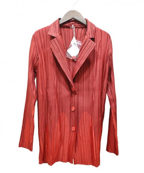 ISSEY MIYAKE(イッセイミヤケ)ISSEY MIYAKE (イッセイミヤケ) プリーツジャケット レッド サイズ:SIZE 3の古着・服飾アイテム