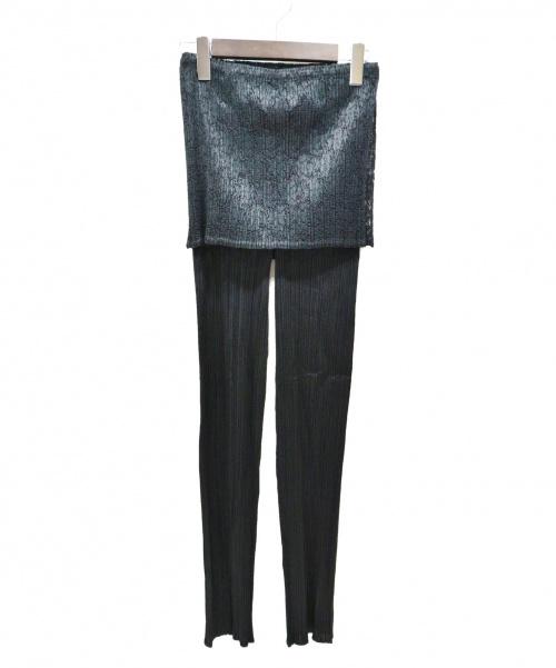 PLEATS PLEASE(プリーツプリーズ)PLEATS PLEASE (プリーツプリーズ) レースレイヤードプリーツパンツ ブラック サイズ:SIZE 3の古着・服飾アイテム