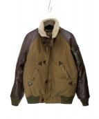 Varde77(バルデセブンティセブン)の古着「オイルレザーアーミーダウンジャケット」|ブラウン